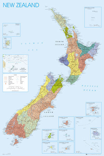 Wall Map of New Zealand Poster - GB Eye Ltd.