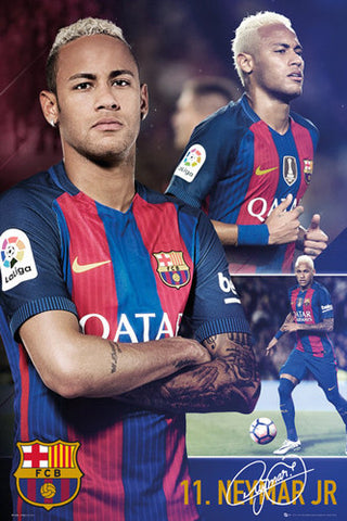 "Neymar Jr. ""Legendary 11"" FC Barcelona Signature Series Football Soccer Poster - GB Eye 2017"