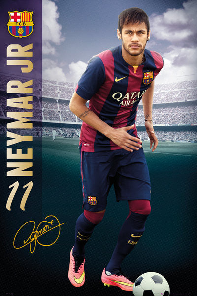 "Neymar Jr. ""Superstar"" FC Barcelona Official La Liga Soccer Action Poster - GB Eye (UK)"