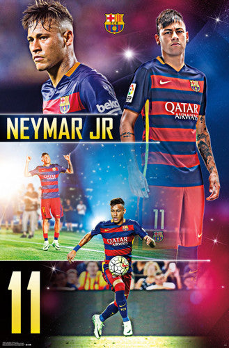 "Neymar Jr. ""Barcelona Brilliant"" Official FCB Soccer Poster - Trends International 2016"