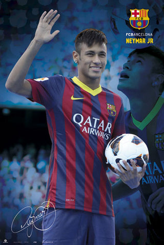 "Neymar Jr. ""Hero"" FC Barcelona Official La Liga Soccer Action Poster - G.E. (Spain)"