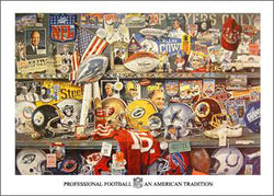 "Super Bowl 25th Anniversary Collage ""An American Tradition"" Poster by Merv Corning"