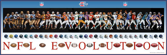 NFL Evolution (QBs and Uniforms Through the Years) Commemorative Poster - Action Images