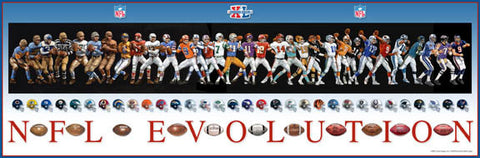 NFL Evolution (QBs and Uniforms Through the Years) Football Historical Poster - Action Images