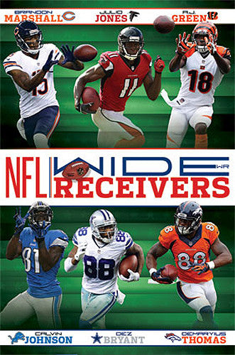 NFL Wide Receivers 2014 Poster (Marshall, Jones, Green, Johnson, Bryant, Thomas) - Costacos