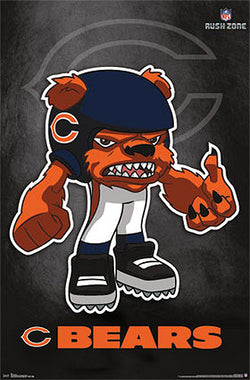 "Chicago Bears ""Rusher"" (NFL Rush Zone Character) Official Poster - Costacos Sports"