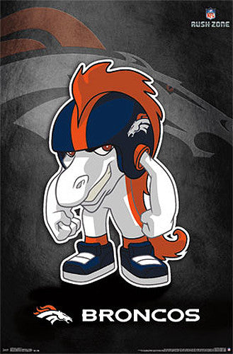 "Denver Broncos ""Rusher"" (NFL Rush Zone Character) Official Poster - Costacos Sports"