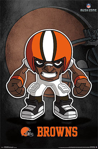 "Cleveland Browns ""Rusher"" (NFL Rush Zone Character) Official Poster - Costacos Sports"