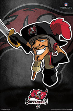 "Tampa Bay Bucs ""Rusher"" (NFL Rush Zone Character) Official Poster - Costacos Sports"