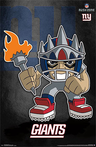 "New York Giants ""Rusher"" (NFL Rush Zone Character) Official Poster - Costacos Sports"