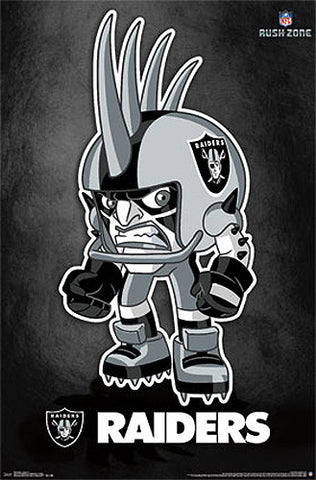 "Oakland Raiders ""Rusher"" (NFL Rush Zone Character) Official Poster - Costacos Sports"