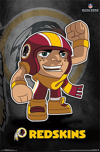 "Washington Redskins ""Rusher"" (NFL Rush Zone Character) Official Poster - Costacos Sports"