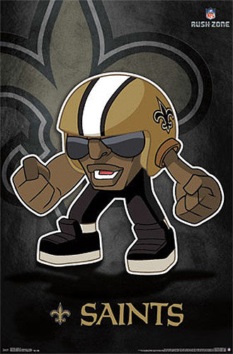 "New Orleans Saints ""Rusher"" (NFL Rush Zone Character) Official Poster - Costacos Sports"