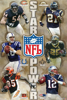 NFL Star Power 6-Player Collage Poster (Urlacher, Manning, Brady, Bush ++) - Costacos Sports