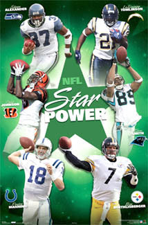 "NFL Superstars ""Star Power"" Poster (Tomlinson, Manning, Roethlisberger, ++) - Costacos 2006"