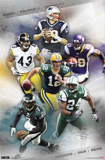 "NFL Football ""Super Six"" Poster (Brady, Rodgers, Vick, Peterson ++) - Costacos 2011"