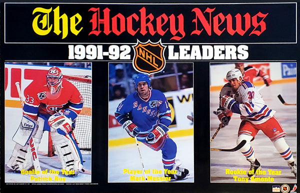 NHL Hockey Leaders 1991-92 Poster (Patrick Roy, Mark Messier, Tony Amonte) - Starline/The Hockey News