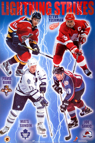 "NHL Hockey Superstars ""Lightning Strikes"" Poster (Yzerman, Sundin, Sakic, Bure) - Trends International 1999"