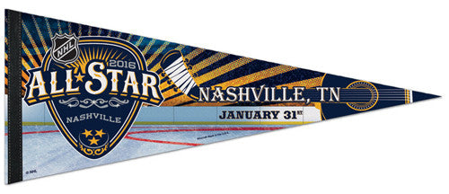 NHL Hockey All-Star Game Nashville 2016 Commemorative Premium Felt Pennant - Wincraft Inc.