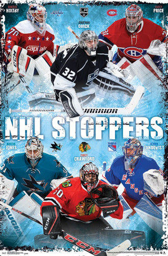 "NHL Goalies ""Stoppers"" Poster (Holtby, Quick, Price, Jones, Crawford, Lundqvist) - Trends International"