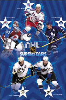 NHL Superstars 2002-03 Poster (Lemieux, Sundin, Bure, Jagr, Roy) - Costacos Sports
