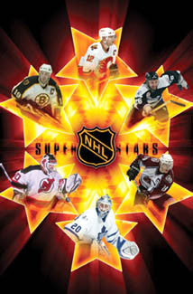 NHL Superstars 2005-06 Poster (Thornton, Iginla, St. Louis, Sakic, Belfour, Brodeur) - Costacos Sports