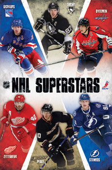 "NHL Hockey ""6 Superstars"" Poster (Crosby, Ovechkin, Richards, Zetterberg, Perry, Stamkos)"