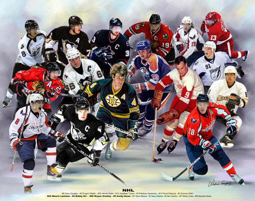 NHL Hockey Superstars and Legends Collage by Wishum Gregory