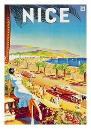 "Nice, France ""Life on the Promenade"" by Eff d'Hey 1935 Vintage Poster Reprint - Clouets (France)"