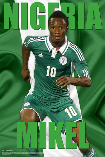 "John Obi Mikel ""Green Machine"" Nigeria World Cup 2014 Soccer Superstar Poster - Starz"