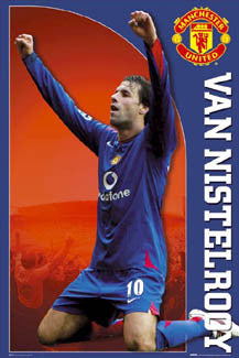 "Ruud Van Nistelrooy ""Blue Striker"" Manchester United FC Poster - GB Posters 2006"