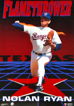 "Nolan Ryan ""Flamethrower"" Texas Rangers Poster - Costacos 1991"