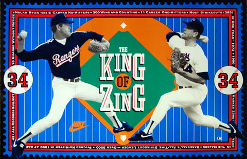 "Nolan Ryan ""King of Zing"" Texas Rangers MLB Baseball Poster - Nike 1990"