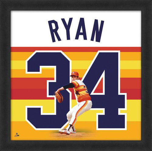 "Nolan Ryan ""Number 34"" Houston Astros MLB FRAMED 20x20 UNIFRAME PRINT - Photofile"