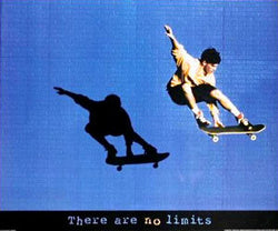"Skateboarding ""No Limits"" Inspirational Action Poster - Front Line"
