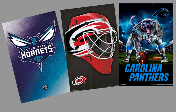 COMBO: NORTH CAROLINA PRO SPORTS 3-Poster Combo (Panthers, Hurricanes, Charlotte Hornets)