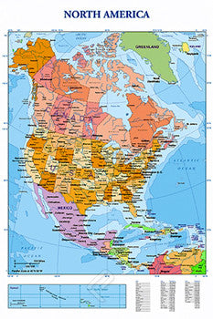 Wall Map of North America Poster - Eurographics Inc.