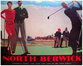 """North Berwick"" Vintage Golf Travel Poster - PI 1999"