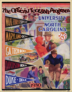 North Carolina Tar Heels Football 1930 Vintage NCAA Poster Print - Asgard Press