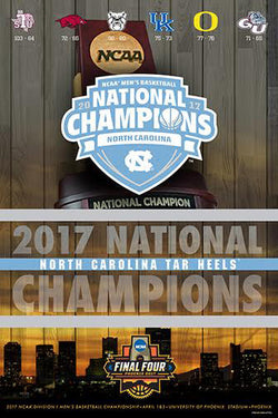 North Carolina Tar Heels 2017 NCAA Men's Basketball CHAMPIONS Poster - ProGraphs