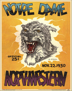 Northwestern Wildcats vs. Notre Dame 1930 Vintage Program Cover Reprint