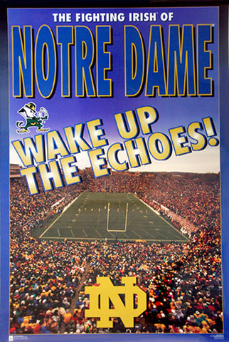 "Notre Dame Football ""Wake Up the Echoes"" NCAA Sports Classic Poster - Costacos 1996"