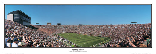 "Notre Dame Stadium ""Fighting Irish"" Football Gameday Panoramic Poster Print - Everlasting Images"