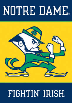 "Notre Dame ""Fightin' Leprechaun"" 28x40 Premium 2-Sided Banner - BSI Products"
