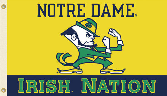 "Notre Dame ""Irish Nation"" HUGE 3'x5' Flag - BSI Products"