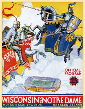 Notre Dame vs. Wisconsin Football 1936 Vintage NCAA Program Cover Poster Print