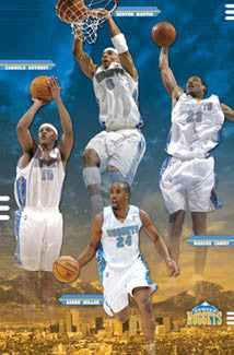 "Denver Nuggets ""Mile High Four"" Poster (Carmelo, K-Mart, Camby, Miller) - Costacos 2005"