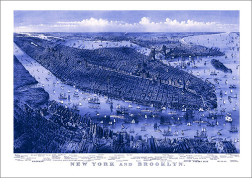 New York and Brooklyn 1875 Classic Aerial Map Premium Poster Print (Parsons and Atwater)