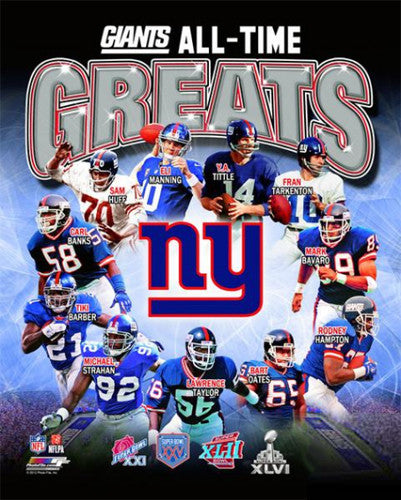 New York Giants All-Time Greats (11 Legends, 4 Super Bowls) Premium Poster Print