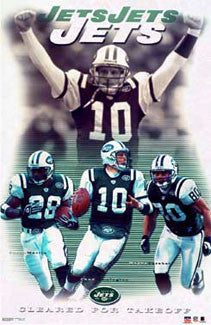"New York Jets ""Cleared for Takeoff"" Poster (Chrebet, Martin, Pennington) - Starline 2003"